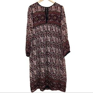 Zara Maxi Long Sleeve Floral Patterned Dress